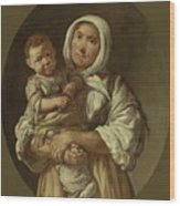 A Peasant Mother With Her Child In Her Arms Wood Print