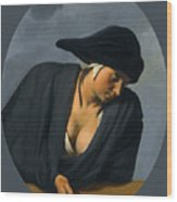 A Peasant Woman Wearing A Black Hat Leaning On A Wooden Ledge Wood Print