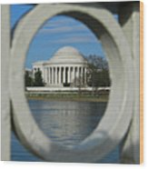 A Peek At The Jefferson Memorial Wood Print