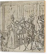A Performance By The Commedia Dell'arte Wood Print