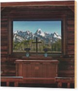 A Pew With A View Wood Print