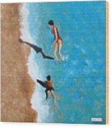 A Piece Of The Beach - Orange Swim Wood Print