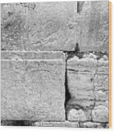A Piece Of The Wailing Wall In Black And White Wood Print