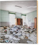 A Pile Of Knowledge - Abandoned School Building Wood Print