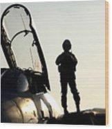 A Pilot Prepares To Enter His F-14b Wood Print