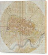A Plan Of Imola Wood Print