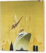A Pleasant Trip To Germany - Airship, Aircraft, Ship - Retro Travel Poster - Vintage Poster Wood Print