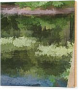 A Pond Reflection Wood Print