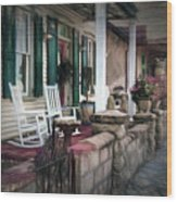 A Porch On The Bay Wood Print