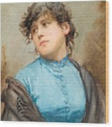 A Portrait Of A Young Woman In A Blue Dress Wood Print