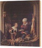 A Poulterer Shop Wood Print