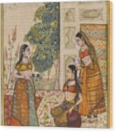 A Princess With Her Maidservants On A Terrace Wood Print