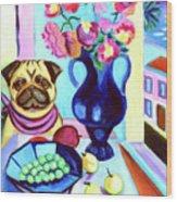 A Pug's Dinner At Henri's - Pug Wood Print