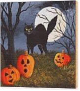 A Purrfect Halloween Wood Print