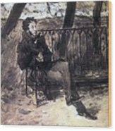 A Pushkin On A Garden Bench 1899 Valentin Serov Wood Print
