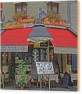 A Quaint Restaurant In Paris, France Wood Print