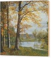 A Quiet Lake Wood Print