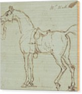 A Racehorse, Bridled And Saddled  Wood Print