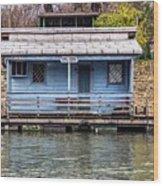 A Raft House Moored To The Shoreline Of Ada Ciganlija Islet Wood Print