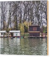 A Raft Houses Moored To The Shoreline Of Ada Medjica Islet Wood Print