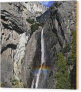 A Rainbow Emanating From Yosemite Falls Wood Print