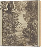 A Rainbow Landscape With Two Women Viewing It From Above Wood Print