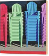 A Rainbow Of Chairs Wood Print