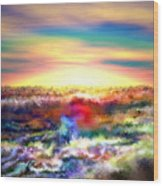 A Rainbow Paisley Sunrise V.2 Wood Print