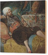 A Reclining Turk Smoking A Hookah, 1844 Wood Print