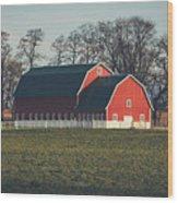 A Red Barn Wood Print