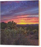 A Red Hot Desert Sunset Wood Print