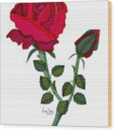 A Red Rose Blooms In Winter Wood Print