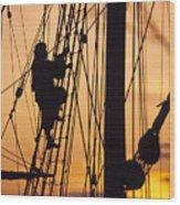 A Reenactors Climbs Up A Reconstructed Wood Print