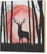 A Reindeer In The Woods Wood Print