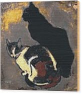 A Replica Of The Cats By Theophile Alexandre Steinlen Wood Print