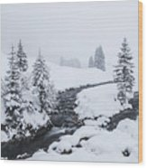 A River And Winter Landscape In Austria Wood Print
