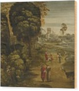 A River Landscape With Figures On A Country Road Wood Print