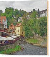A Riverside Cafe Along The Vltava River In The Czech Republic Wood Print