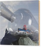 A Robot In A Bottle Wood Print by Michael Knight