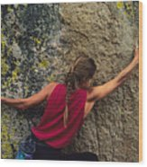 A Rock Climber On A Boulder Wood Print