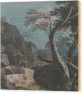 A Rocky Wooded Landscape With Three Peasants Wood Print