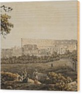 A Roman Landscape With The Colosseum And Figural Staffage Wood Print