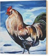 A Rooster In Maine Wood Print