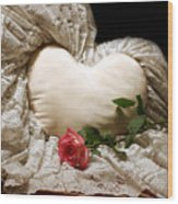 A Rose And A Heart Wood Print