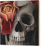 A Rose On The Skull Wood Print