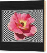 A Rose With A Checkered Background Wood Print