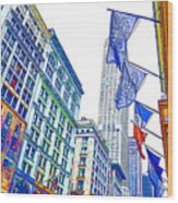 A Row Of Flags In The City Of New York 1 Wood Print