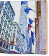 A Row Of Flags In The City Of New York 2 Wood Print