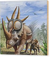 A Rubeosaurus And His Offspring Wood Print