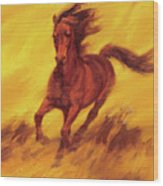 A Running Horse Wood Print